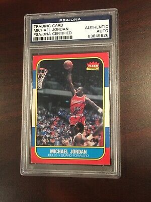 1986-1987 Fleer Michael Jordan Chicago Bulls #57 Basketball Card Auto Signed Uda