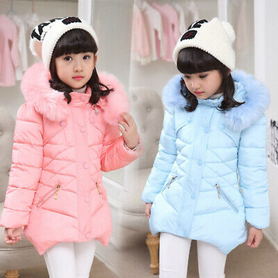 Winter Girls Kids Baby Padded Coat Jacket Faux Fur Hooded Long Parka Coat Warm