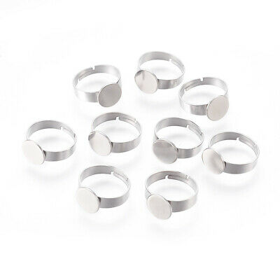 10pcs Adjustable 304 Stainless Steel Finger Rings Base Findings Tray: 10mm