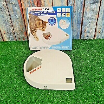 Cat Mate C500 Automatic Pet Feeder With Digital Timer White Very Good Condition
