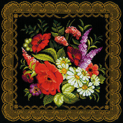 "R720 10 Count RIOLIS Counted Cross Stitch Kit 15.75/""X15.75/""-Roses Cushion"