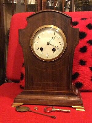 Art Nouveau Tall Wooden Mantel Clock-Inlaid-French Pendulum Movement-17258