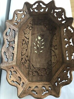 Vintage Wooden Tray Hand Carved Ornate Flower Pattern Inlaid