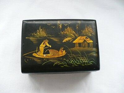 Vintage   Chinese Black Laquered   Wood  Trinket  Jewellery Box.