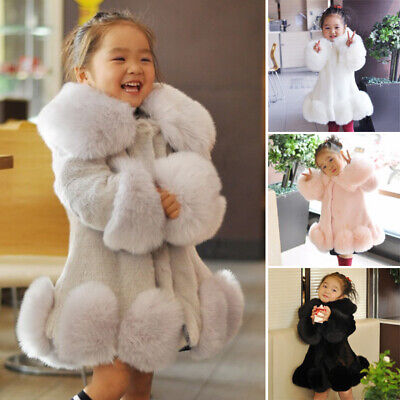 Kids Girls Toddlers Casual Party Coat Thicken Warm Faux Fur Collar Parka Jacket