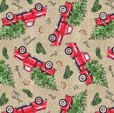 Christmas Red Truck Pine Tree Sewing Quilting Fabric  David Textiles FQ
