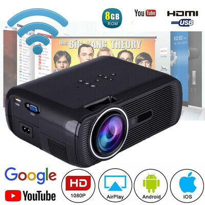 2019 HD 4K Wireless Home Theater Projector Wifi 1080P Mini Android 1G+8G HDMI 9h