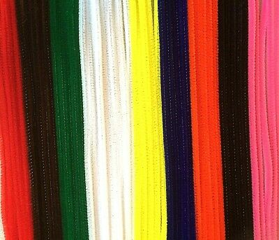 "50 Chenille Pipe Cleaners Stems 12"" 30cm Craft Christmas Children Hobby Assorted"