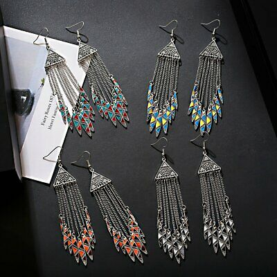 Bohemian Women Fashion Dangle Earrings Long  Chain Leaf Dangle Ethnic Earring