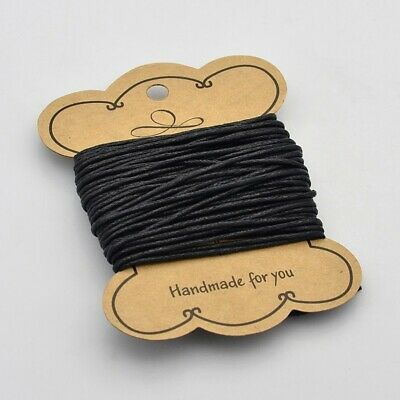 10m Waxed Cotton Cord Thread 1.5mm Black bead stringing bracelet necklace making