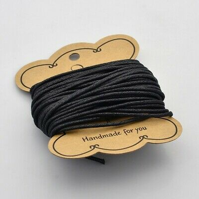 10m Waxed Cotton Cord Thread 2mm Black bead stringing bracelet necklace making