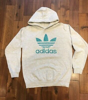 Womens Girls Sports Teal Glitter Hoodie, Adidas, Unique, Top Quality, UK Stock!