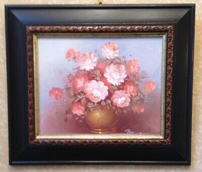 Ornate Wooden Gold Black Picture Frame - Oil Painting On Board Signed Robert Cox