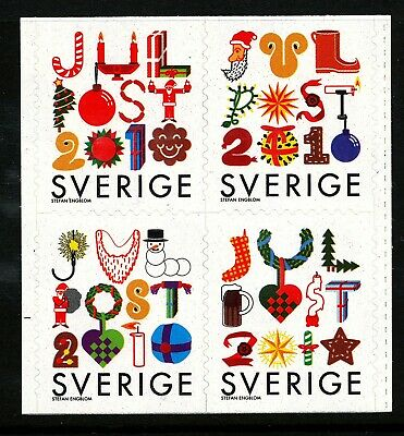 Sweden 2010 Block of four from booklet  Christmas.  MNH