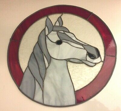 "14"" Diameter Round Horse Head Stained Glass Wall / Window Hanging"