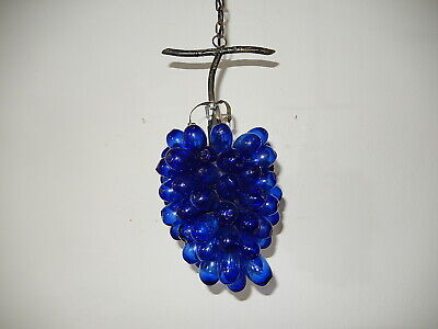 ~c 1950 Mid Century Mouth Blown Murano Cobalt Drops Grape Cluster Chandelier~