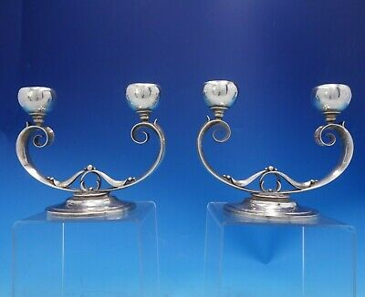 Blossom by HCW Danish Sterling Silver Candlestick Holder Pair Leaves Beads #3980