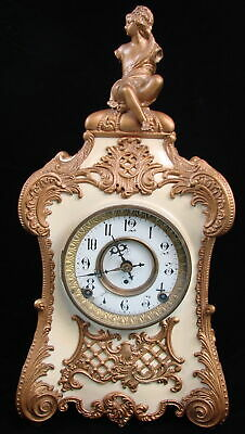 Antique F K Roeber Circa 1895 Pompadour Mantel Clock Figural Enameled Iron Brass