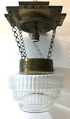 ☛ Antike Art Deco Deckenlampe Messing Glas 44 cm hoch  ☚