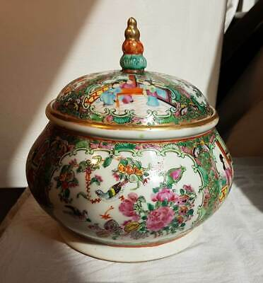 Antique Chinese Canton Rose Medallion Porcelain Candy Jar Qing Dynasty 19th