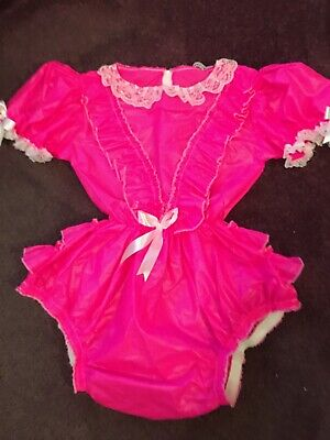 "Adult Baby Sissy Pink Waterproof Romper / Playsuit  up to 42"" Chest"