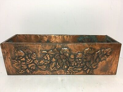 "Vintage Floral Embossed Sheet Copper On Wood Planter Window Box 13"" Home Patio"