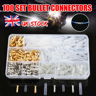 100Pcs 3.9mm Motorcycle Wiring Harness Bullet Connector Brass Electrical Covers