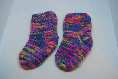 Handknitted Multi-coloured Baby Socks. 0-6 Months. Knit in the UK.