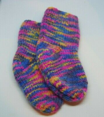 Handknitted Multi-coloured Baby Socks.6-12 Months. Knit in the UK.