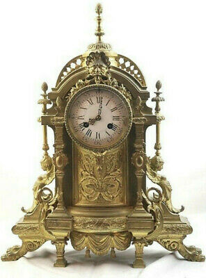Antique circa 1800's French Large Dore Bronze Mantel Table Shelf Clock