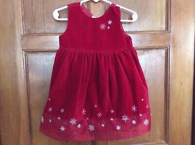 Old Navy CHRISTMAS Dress Red Velvet SILVER Snowflakes Sz 12-18 mo Barely Worn