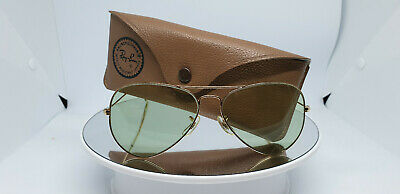 Vintage B&L Ray Ban Large Metal 58mm Changeable Green L0101 Sunglasses