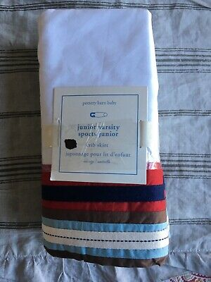 "Pottery Barn Baby Junior Varsity Crib Bed Skirt 28"" X 52"" Mrsp $59 New Colorful"
