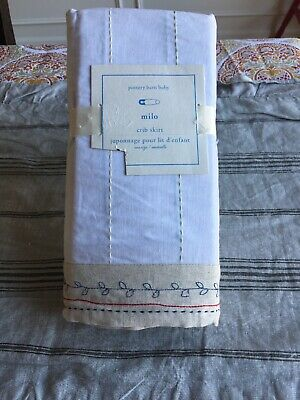 "Pottery Barn Farmhouse Baby Milo Crib Skirt 28"" X 52"" Mrsp $79 New"