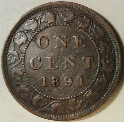 1891 (LL LD Obv 2) CANADA ONE CENT Coin - Incomplete 'N'