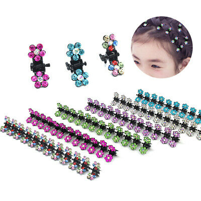 12pcs Baby Child Crystal Flower Mini Barrettes Hair Claw Clamp Clip Girl Hairpin