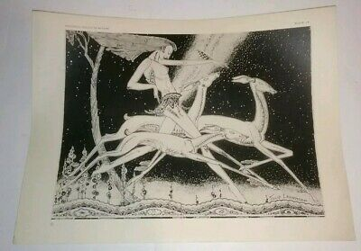 Antique Art Deco Diana Huntress Print Lady Running with Deer Tillie Lehnhoff VTG