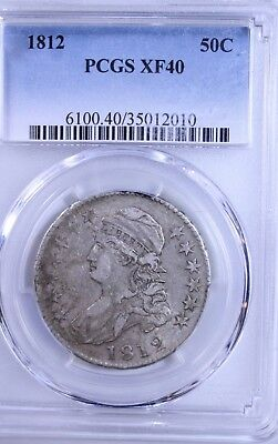 1812 Capped Bust Half Dollar : PCGS XF40