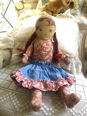 """Large Vintage 1940s Oil Cloth Doll Red Hair Braids Blue Eyes 18"""" Tall"""