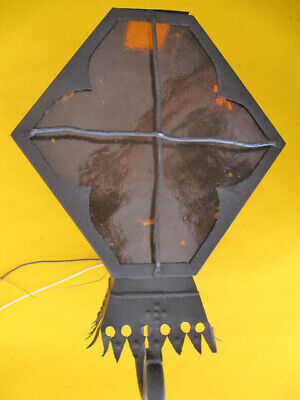 Vintage Spanish Revival Exterior Iron Porch Light Lamp Amber Glass 1930'S Wired