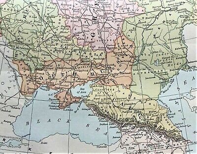 Antique Large Color Map ~ RUSSIA ~ Rare 1887 ORIGINAL Detailed ~ Very Scarce