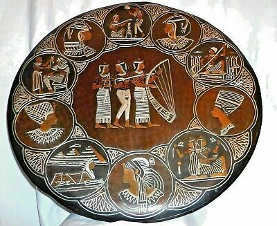 Egypt Egyptian handmade Real Silver Inlaid 49cm Copper Wall Hanging Charger Tray