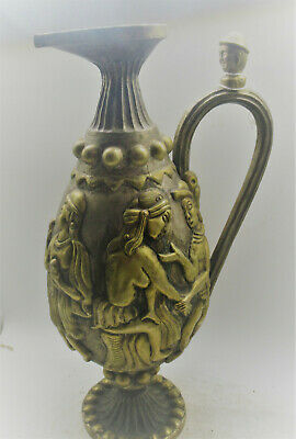 Scarce Ancient Persian Silver And Golt Gilt Ewer With Handle Circa 100Bce