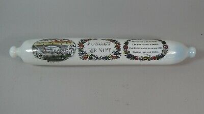 ANTIQUE 19thC MILKY BLUE OPALESCENT VASELINE GLASS ROLLING PIN - UNUSUAL EXAMPLE