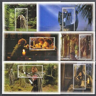 New Zealand 2001 Lord of the Rings Set of 6 Minisheets MNH