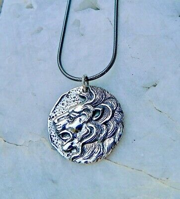 925 Sterling Silver Lion Ancient Coin Mens Necklace Oxidized Snake Chain 1108