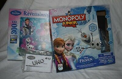 Disney Frozen Lot 3 Games Monopoly Jr Board Game UNO Card Game 300 pc Puzzle
