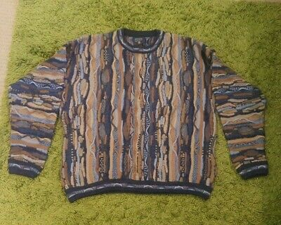 Coogi Style Vintage Retro 80's 90's Jumper Knit Sweater Pure Wool Size Large L