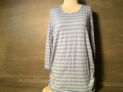 Motherhood Maternity Womens Blue Striped 3/4 Sleeves Poly Elastine Rayon Large