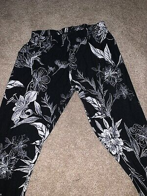 No boundaries Rose Leggings SOFT Sueded FLORAL Ankle Length Red Black XXL 2X S